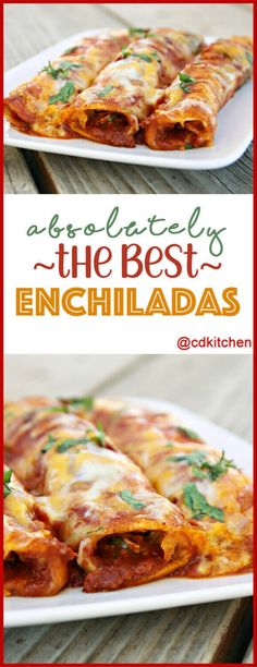 Absolutely The Best Enchiladas - These amazing Tex-Mex enchiladas are made with ground beef, three kinds of cheese, spicy tomatoes, chili, and corn tortillas. Beef Recipes For Dinner, Meat Recipes, Mexican Food Recipes, Cooking Recipes, Cooking Tips, Mexican Desserts, Recipies, Ground Beef Enchiladas, Cheese Enchiladas