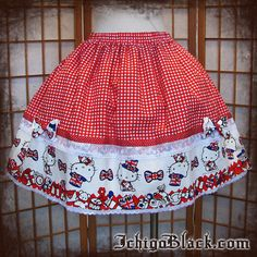 Red Hello Kitty lolita skirt par ichigoblack sur Etsy