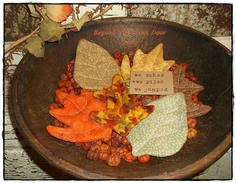 Primitive FALL Leaves Tucks Ornies Bowl by BeyondTheAtticDoor, $13.95