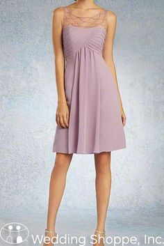 Beautiful beaded illusion neckline. Alfred Angelo Bridesmaid Dress 8100