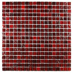 Glass and Porcelain Tile Mosaic - 5/8 X 5/8 Glossy Rippled Glass and Porcelain Tile - GS-RED Blend
