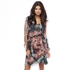 Jennifer Lopez Floral Chiffon Dress - Women's