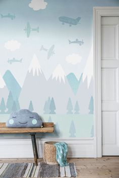 Gorgeous new Scandinavian kids wallpaper collection now available which includes this lovely Brio Air design in sky blue.