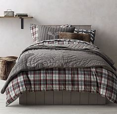 Lodge Plaid & Moose Flannel Bedding Collection -- this would be perfect for Will and still not clash with Parker's baseball.