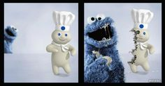 Cookie Monster vs The Doughboy  Cookie Monster, poor doughboy.