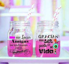 Frases Savings Box, Personalized Tumblers, Ideas Para Fiestas, Bbq Party, Lalaloopsy, Pink Parties, Jar Gifts, Candy Shop, Mason Jars