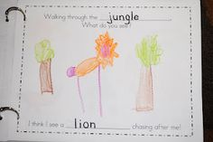 """Walking through the Jungle"" Class Book modeled off of Debbie Harter's book....can change the habitat ex: ""walking through the desert"""