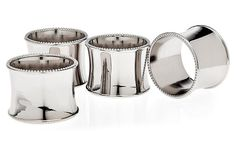Set of 4 Silver-Plated Beaded Napkin Rings