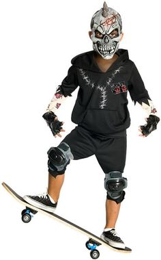 Kids Facepaint Costume includes scary mask, black hoodie, shorts and gloves. Skateboard not included.