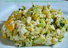Składniki:    różyczki brokuł     torebka ryżu    szklanka kukurydzy konserwowej    2 jajka    zielony ogórek    szynka (opcjo... Diet Recipes, Vegan Recipes, Appetisers, Superfood, Fried Rice, Food Dishes, Potato Salad, Food And Drink, Healthy Eating