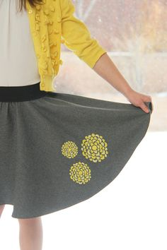 embroidered circle skirt tutorial including how to sew a hem on a circle skirt