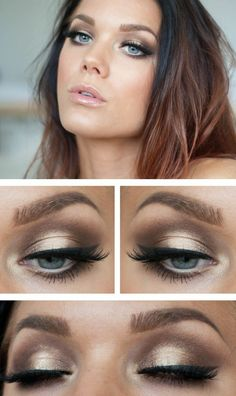 Augen wunderschöne Lidschatten Lippenstift blaue Augen