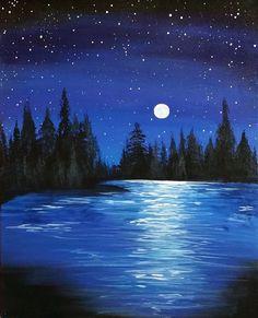 acrylic paintings painting landscape beginners tutorials night easy simple canvas moon beginner uploaded user
