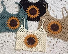 Sunflower Top With Massive Sleeves Made - Diy Crafts Gilet Crochet, Crochet Granny, Crochet Baby, Knit Crochet, Crochet Halter Tops, Crochet Crop Top, Crochet Bikini, Crochet Sunflower, Crochet Woman