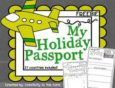 """This will be a great companion to a unit on holidays around the world. This freebie includes passport pages for 27 different countries. Print the countries that you will """"visit"""" with your students, and enjoy!  Remember that your feedback helps me to create in the future!"""