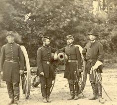 From left to right: 1st Lt. H. Meinell, 1st Lt. H.S. Gansevoort, 5th U.S. Art. Capt. H. G. Gibson. 1st Lt. E. Pendleton. Officers of Batteries C and G, 3rd U.S. Artillery. Near Fair Oaks, June 1862.