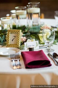 Wedding place setting ideas - decor, table, fall, romantic, rustic, greenery, candles {Rebecca Gatto Photography}