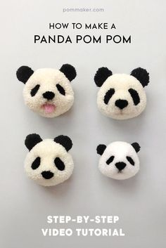 How to Make a Panda Pompom - Pompom tutorial | pompom craft, craft tutorial, DIY, pompom animal, pompom bear, yarn craft