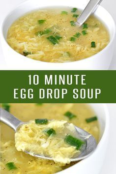 10 Minute Egg Drop Soup Recipe! This Chinese Food Recipe is quick, easy and loaded with flavor. Pairs nicely with Fried Rice our other Asian Recipes. This can easily adapt to a vegetarian recipe. Click to see more Soup Recipes! #chineserecipes #souprecipes #vegetarianrecipes #lunchrecipes #easyrecipes