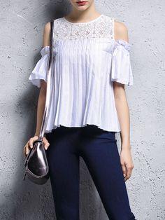 Pleated Off-shoulder Cotton Blouse