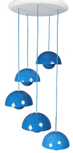 """Hanging lamp 5 blue """"Flowerpot"""" by Verner PANTON from the 70s. Manufacturer: Louis Poulsen. Five lights in turquoise enameled metal. New electrification and wire adjustable in height."""