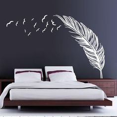 Do-it-Youself Giant Feather Wall Decal Home Bedroom Decor (White) Bedroom Wall Designs, Wall Decals For Bedroom, Bedroom Stickers, Bedroom Ideas, Modern Room Decor, Boho Bedroom Decor, Large Wall Stickers, Wall Stickers Home Decor, Feather Wall Decor
