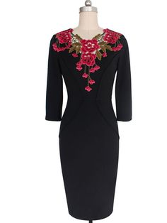 Round Neck Applique Floral Hollow Out Plain Bodycon Dress Autumn Fashion Casual, Fashion Prints, Fashion News, Applique, Bodycon Dress, Formal Dresses, Rose, Floral, Stuff To Buy