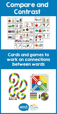 Building Vocabulary - Compare and Contrast - Speech Concepts Speech Therapy Activities, Speech Language Therapy, Language Activities, Speech And Language, Language Arts, Community Helpers Activities, Grammar Games, Nouns And Verbs, Receptive Language