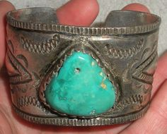 c.1920 NAVAJO INGOT COIN SILVER EARLY STAMP CHISEL WORK OLD HOLED TURQUOISE vafo