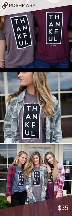 New! S-XL MOCHA Thankful tee This listing is for MOCHA. Cranberry in a different listing. These are luxury tees and they're a UNISEX fit. Your new favorite tee! Price firm unless bundled Sweet Sassy Vines Boutique Tops Tees - Short Sleeve