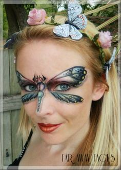 Mustardseed- She is a dragonfly because, as another fairy, she is small and flighty. Face Painting Images, Animal Face Paintings, Girl Face Painting, Face Painting Designs, Mime Face Paint, Face Paint Makeup, Butterfly Face Paint, Lorie, Kids Makeup