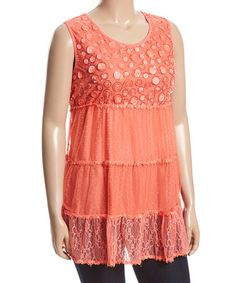 Loving this Coral Lace-Accent Textured Sleeveless Top - Plus on #zulily! #zulilyfinds