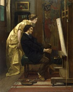 "Alfred Stevens: ""The Painter and His Model"",  1855, oil on fabric, The Walters Art Museum, Wikipedia, the free encyclopedia"