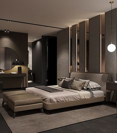 luxury master bedroom interior design - Internal Home Design Modern Luxury Bedroom, Luxury Bedroom Design, Bedroom Bed Design, Modern Master Bedroom, Luxurious Bedrooms, Home Decor Bedroom, Home Interior Design, Dark Bedrooms, Master Bedroom Interior