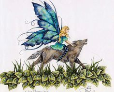 Wild Companions by Amy Brown - The Faerie Folk Fantasy Creatures, Mythical Creatures, Fantasy Warrior, Fantasy Art, Amy Brown Fairies, Spring Fairy, Fantastic Beasts And Where, Sketch Inspiration, Fairy Art