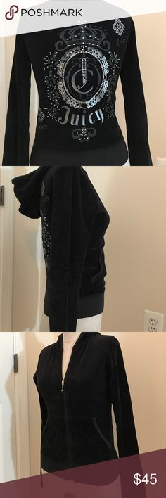 Juicy Black Jacket Great condition, hood and 2 pockets, zip up Juicy Couture Jackets & Coats