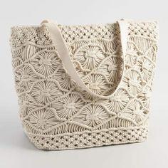 Cost Plus World Market White Macrame Picnic Insulated Tote Bag#ad