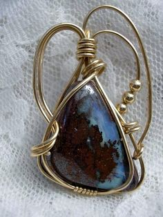 Boulder Opal wire wrapped pendant