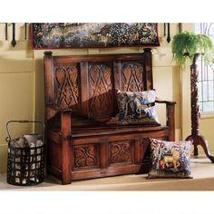 Historic Mahogany Monk's Bench
