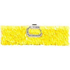 Preowned Roger Vivier Embellished Clutch (€1.385) ❤ liked on Polyvore featuring bags, handbags, clutches, yellow, beaded handbags, pre owned purses, embellished purses, preowned handbags and plastic purse