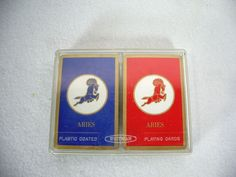 Playing Cards Double Deck Aries Vintage Whitman Red Blue Gold Edge Plastic Case