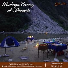 Enjoy the Barbeque evening at river side with your loved ones, and cherish the moment. For more details call us on +91-9910016146 Book your stay at www.sollunaresort.com