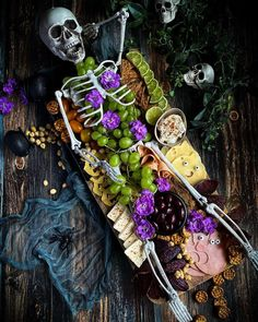 """Gothic Multi-Shop Marketplace on Instagram: """"Finger food never looked so good 🌸💀 📷 @theweird.foodsisters . . . #skeleton #food #foodie #foodiegram #halloween #spooky #horror #october…"""" Halloween Dinner, Halloween Dress, Spooky Treats, Weird Food, Finger Foods, Easy, Instagram, Chilling, Skeleton"""