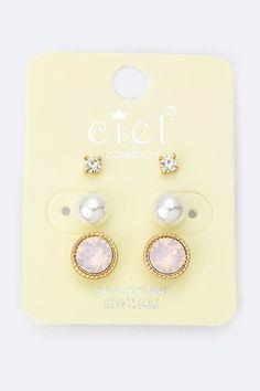Stud Earring Set - Peach