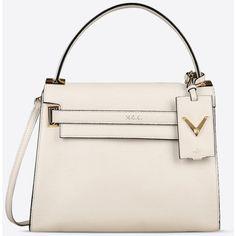 Valentino Garavani Single Handle Bag (£2,285) ❤ liked on Polyvore featuring bags, handbags, ivory, leather purses, ivory handbag, pink leather handbags, ivory leather handbags and valentino purses