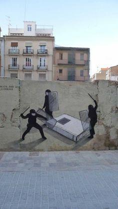 Educación para la ciudadanía,  Mural de Escif en Valencia (España)