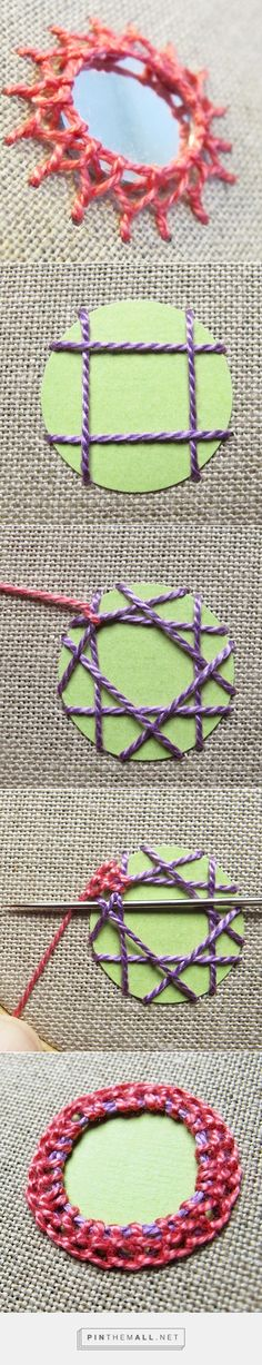 "Embroidery_Tutorial -- ""Add Mirrors to Embroidery or Knitted/Crocheted Garments With Stunning Shisha Stitches. Full photo and text tutorial at Craftsy."" Enjoy from KnittingGuru Embroidery Applique, Beaded Embroidery, Cross Stitch Embroidery, Embroidery Patterns, Sewing Patterns, Embroidery Techniques, Sewing Techniques, Hand Stitching, Sewing Crafts"