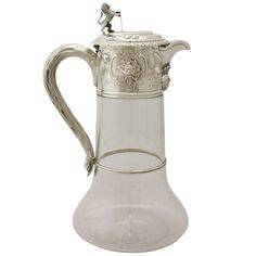 Glass and Sterling Silver Mounted Claret Jug, Antique Victorian