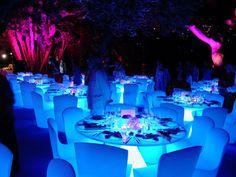 wedding table lighting. #Wedding #reception #uplighting Using Uplights Underneath The Table To Illuminate Linens. # Wedding Lighting S