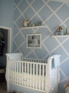 easy taped-off lattice painted wall. Could use for anything, not just a baby's room!
